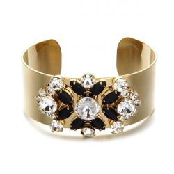 Weinlese Gold überzogene Kristallblumen Weit Stulpe Armband für Frauen