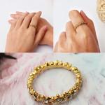 Weinlese Gold überzogene Rhinestone Blumen Finger Ring Frauen Schmuck Damenschmuck