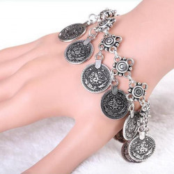 Vintage Gold Silver Coins Charm Chain Bracelet For Women