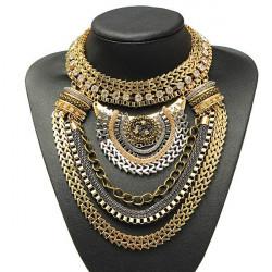Weinlese Gold Silber Kristallmultilayer Schellfisch Aussagen Kragen Halskette