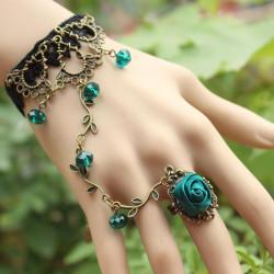 Weinlese gotische Rhinestone Rosen Blumen Ring Spitze Armband