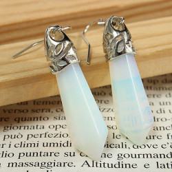 Vintage Hexagonal Pendulum Gemstone Column Dangle Earrings Eardrop