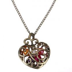 Vintage Hollow Hjärta Pärl Hänget Kedjar Halsbandet för Kvinnor