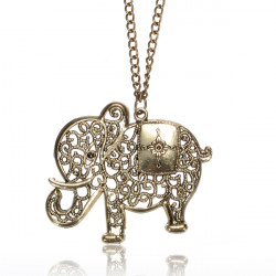 Vintage Hollow Out Elephant Pendant Sweater Necklace Long Chain