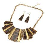 Vintage Leopard Square Pendant Necklace Earrings Jewelry Set Women Jewelry