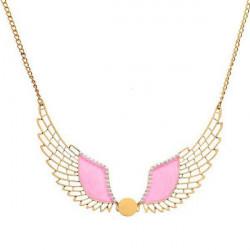 Weinlese rosa Hohl Angel Wings Perlen Anhänger Kragen Halsketten