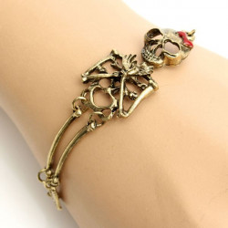 Vintage Punk Gold Silver Bow Skull Alloy Bracelet For Women