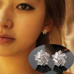 Weinlese Silber Kristallblumen Stern Bolzen Ohrringe für Frauen