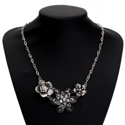 Vintage Silver Rhinestone Crystal Petal Blomma Chokerhalsband