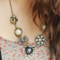 Weinlese süße Pfirsich Herz Blumen Perlen hängende Kettenhalskette