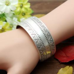 Vintage Tibetansk Sølv Carve Pattern Bangle Åbning Cuff Armbånd