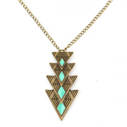 Vintage Triangle Oil Bronze Chain Pendant Necklace For Women