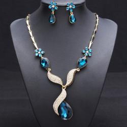 Water Drop Crystal Flower Necklace Earrings Jewelry Set For Women