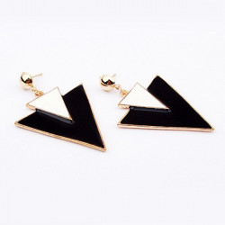 Weiß Schwarz Geometrie Doppel Triangle Legierung baumeln Ohrstecker