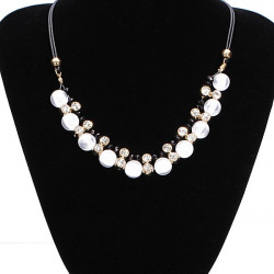 White Opal Beads Crystal Necklace Black Leather Chain Choker