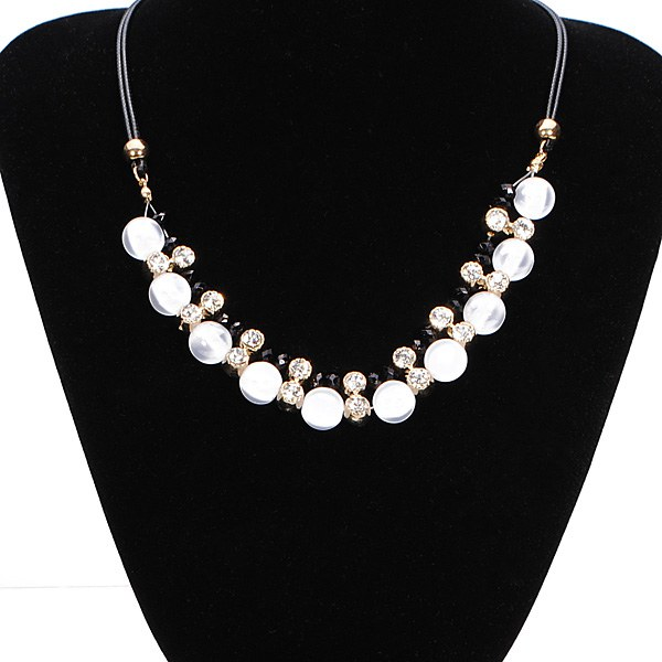 White Opal Beads Crystal Necklace Black Leather Chain Choker Women Jewelry