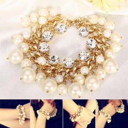 White Pearl Kristall Armband Metallkette Chunky mehrschichtiges Armband