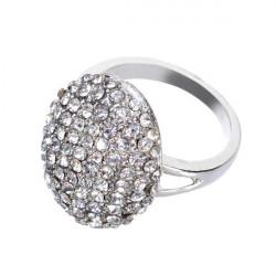 Frauen Silber überzogener Kristall Strass Hochzeit Ringe Schmuck