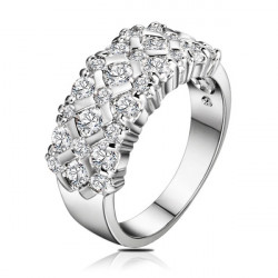 Women Silver Plated Crystal Zircon Rhinestone Ring Wedding Jewelry