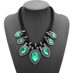 Frauen Wasser Tropfen Kristall Chunky Opulente Halskette Hanfseil