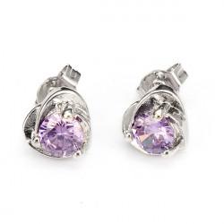 Zircon Crystal Heart Shaped Stud Earrings 18K Platinum Plated