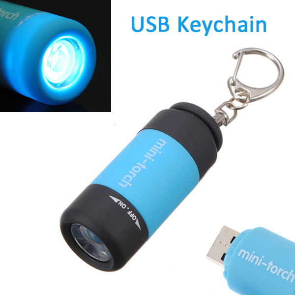 0.3W 25LM Mini-Torch USB Rechargeable LED Keychain Flashlight