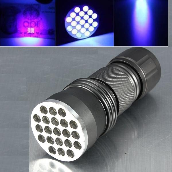 21 LED Aluminiumlegierung Ultra Violet LED Taschenlampe 3xAAA Taschenlampe