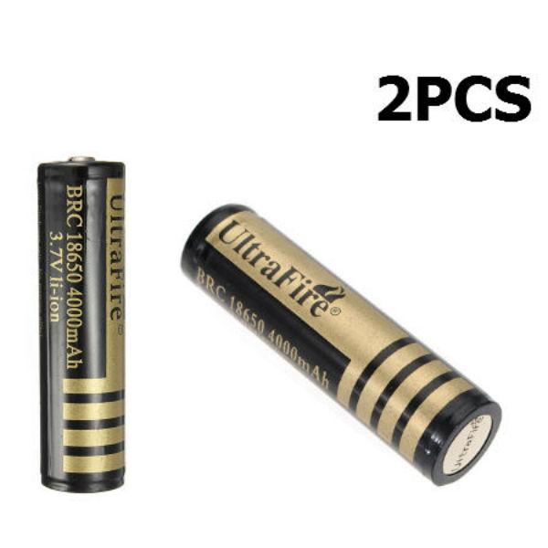 2PCS 3.7V 4000mAh Skyddad Ultra 18650 Uppladdningsbart Batteri Ficklampor