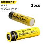 2ST NiteCore NL186 2600mAh 18650 Li Ionen Akku Taschenlampe
