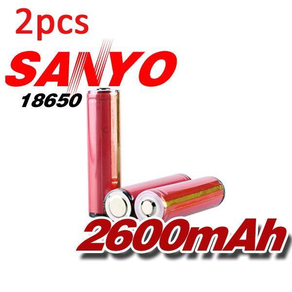 2pcs Sanyo 18650 Protected 3.7v 2600mAh Rechargeable Battery Flashlight
