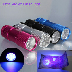 385 400nm 9 x UV LED Ultra Violet Taschenlampe AAA