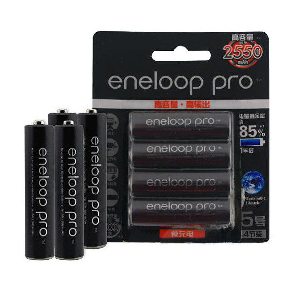 4pcs Eneloop Pro BK-3HCCA/4BC AA 2550mAh Battery Flashlight