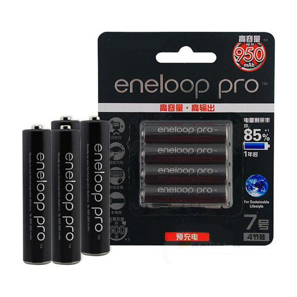 4pcs Eneloop Pro BK- 4HCCA / 4BC AAA 950mAh Batteri Ficklampor