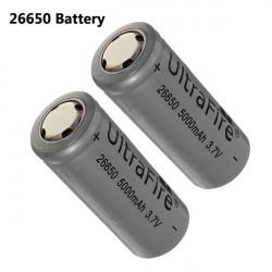 5000mAh 3.7V 26650 Rechargeable Lithium Battery Gray 2PCS