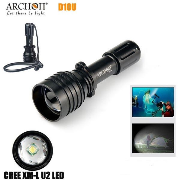 ARCHON D10U CREE XM-L U2 860LM 60M Dykning LED Ficklampa Ficklampor
