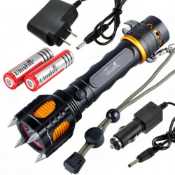CREE XM-L T6 2000lm Attack Heads+Audible Alarm LED Flashlight Suit