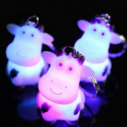 Cartoon Cow Keychain Touch Flash 3 Colors LED Keychain Light