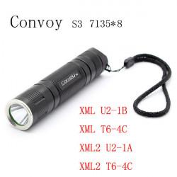 Convoy S3 7135 * 8 3/5-Lägen 2Groups LED Ficklampa 18650