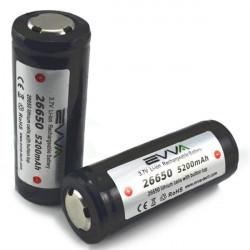 Evva ICR26650 3.7v 5200mAh Gold Plating Skyddad Li-ion Batteri