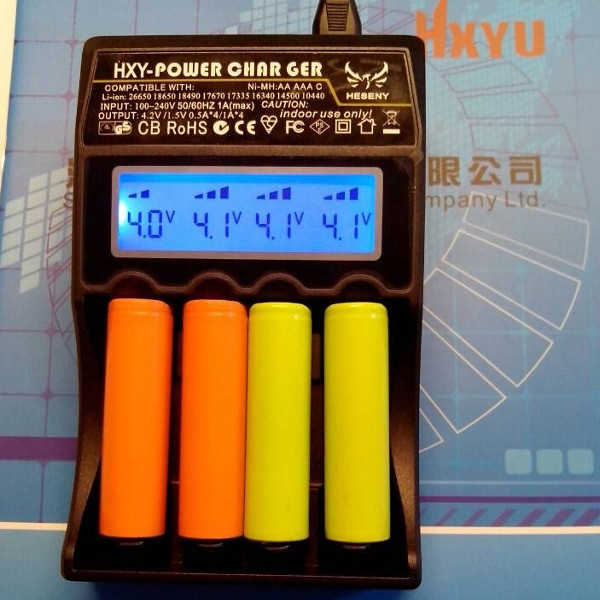 HXY-18650-4LC Batteri Intelligent Charger med LCD-display Ficklampor