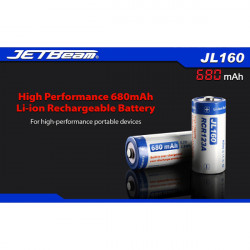 JETBeam JL160 16340 680mAh 3.7V Li-ion Battery With Protected