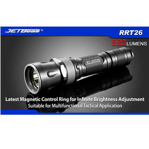 JETBeam RRT26 Cree XM-L2 T6 7 Functions 980LM Tactical LED Flashlight Flashlight