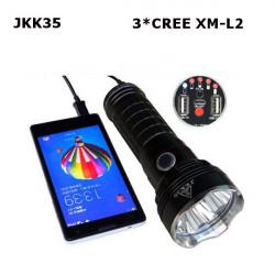 JKK35 3 * Cree XM-L2 DIY LED Ficklampa med Mobile Power Bank Laddning