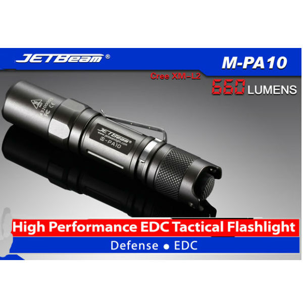 Jetbeam M-PA10 CREE XM-L2 660lm Tactical EDC LED Ficklampa Ficklampor