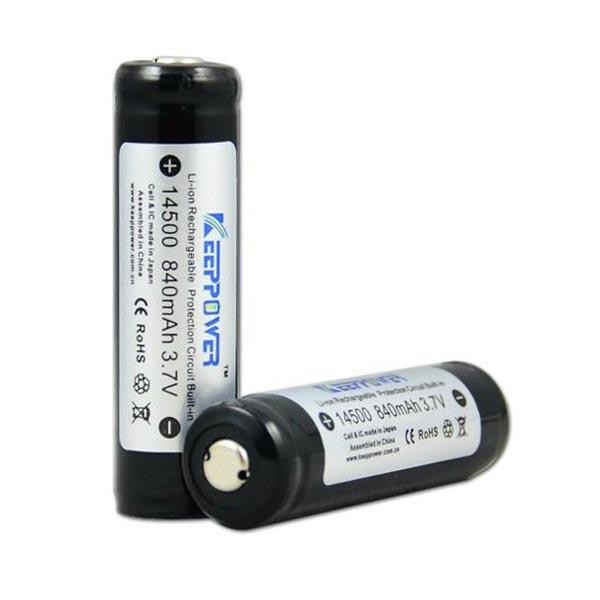 KeepPower 14500 840mAh 3.7V Skyddad Uppladdningsbart Li-ion Batteri Ficklampor