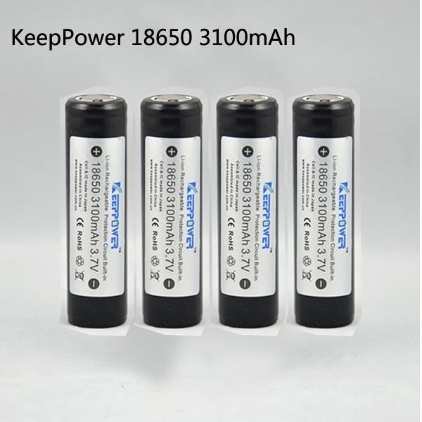 KeepPower 18650 3100mAh Protected Rechargeable Li-Ion Battery 4PCS Flashlight