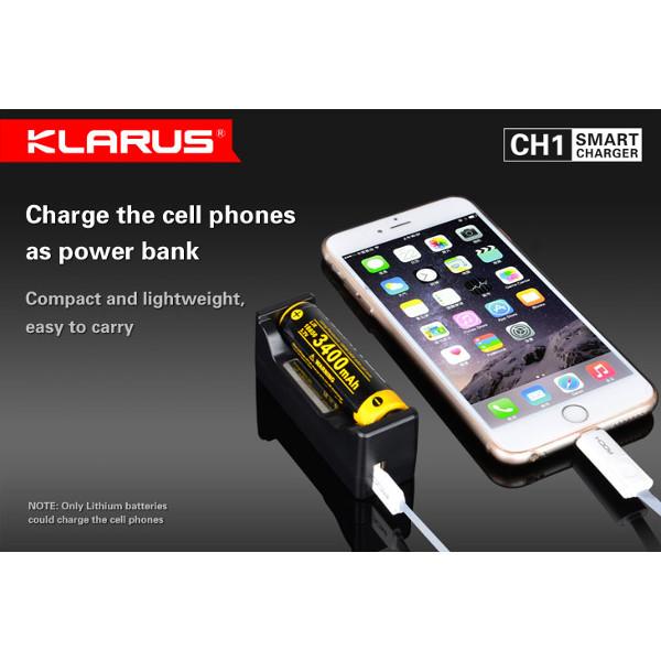 Klarus CH1 Li-ion NI-MH Batterifunktionsindikator Power Bank Laddare Ficklampor