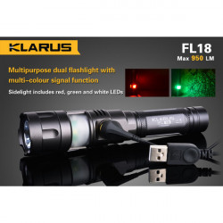 Klarus FL18 CREE XM-L2 (U2) 950lm Multipurpose Dual LED Ficklampa