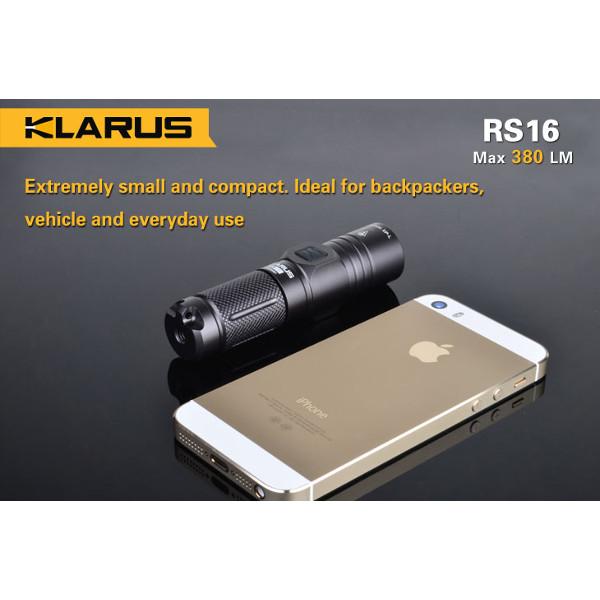 Klarus RS16 XP-L 380LM 6-Mode 16340 Rechargeable EDC LED Flashlight Flashlight