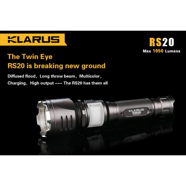 Klarus RS20 CREE XM-L2 1050lm MultiFarve Genopladelige LED Lommelygte Lommelygter